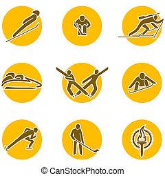 sports, ensemble, hiver, icône