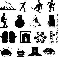 sports, ensemble, hiver, icônes