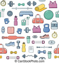 Sports equipment background. - Simple vector composition of...
