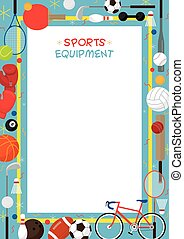 Sports Equipment, Flat Icons Poster Frame