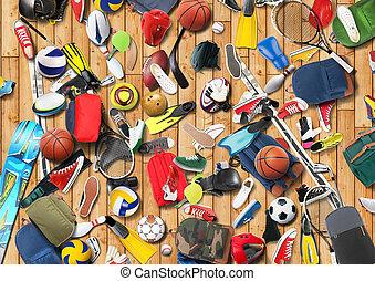 Sports equipment has fallen down in a heap in the gym