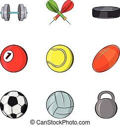 Sports equipment icons set, cartoon style