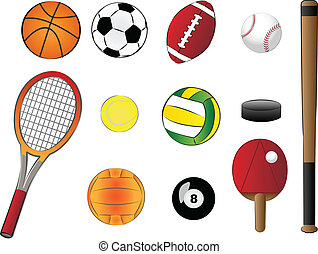 sports equipment illustration - sports equipment vector...