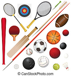 Sports Equipment - A Vector Illustration Of Various Sports...