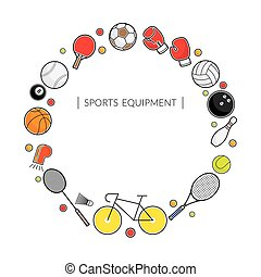 Sports Equipment, Line Icons Frame