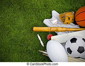 sports equipment on grass, football, rugby, baseball, ...