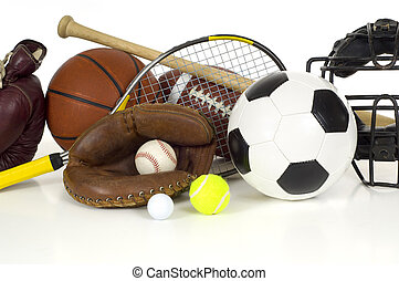 Variety of sports equipment on white background with copy space, items inlcude boxing gloves, a basketball, a soccer ball, a football, a baseball bat, a catcher's mitt or glove, a tennis racket and ball, a golf ball, and a baseball catchers mask