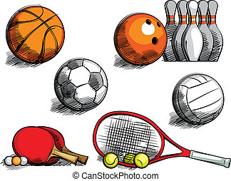Sports Equipment - sketching sporting equipment for...