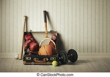 Sports equipment - Old Suitcase with sports equipment