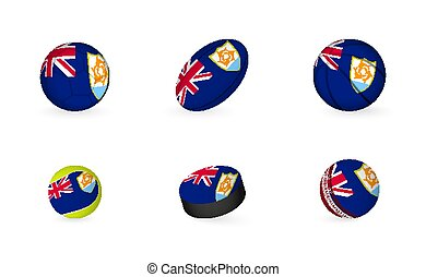 Sports equipment with flag of Anguilla. Sports icon set.