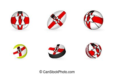 Sports equipment with flag of Northern Ireland. Sports icon set.