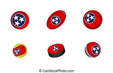 Sports equipment with flag of Tennessee. Sports icon set.