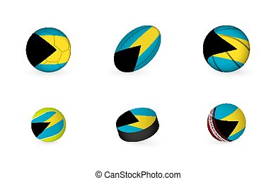 Sports equipment with flag of The Bahamas. Sports icon set.