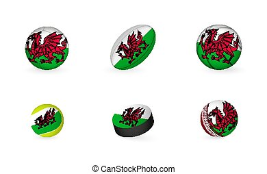 Sports equipment with flag of Wales. Sports icon set.