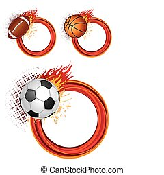 sports equipment with flames - sports design elements