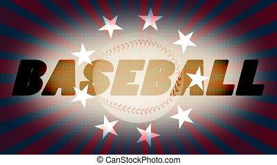 sports, faire boucle, base-ball, retro, fond, animé