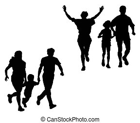 Sports family - Silhouette of running sports family on a...