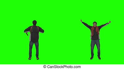 Sports Fan Cheering on Green Screen