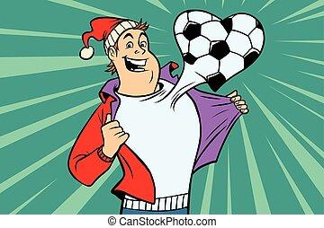 Sports fan loves football. Comic book cartoon pop art...
