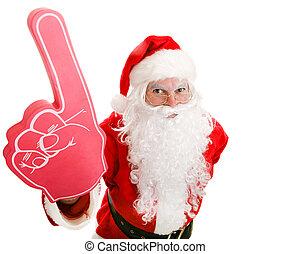 Sports Fan Santa with Foam Finger
