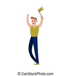Sports fan supporting his team with a green flag cartoon character vector Illustration