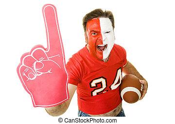 Sports Fan Winner - Football fan shouting and waving a...
