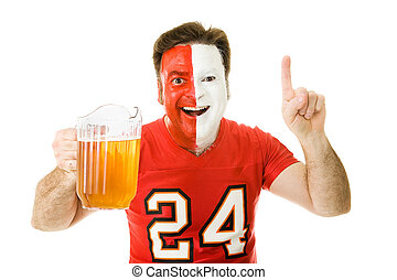 Sports Fan with Beer - Enthusiastic sports fan with a...