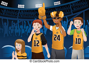Sports fans in a stadium - A vector illustration of ...