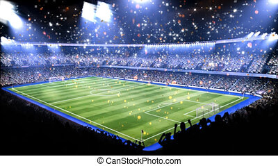 Sports field in light of spotlight.