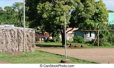 sports field rural Nicaragua - rural sports court field with...