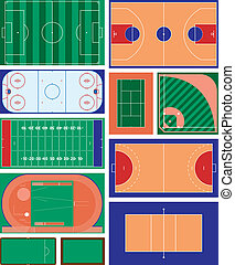 Sports Fields - vector set of indoor and outdoor sport areas