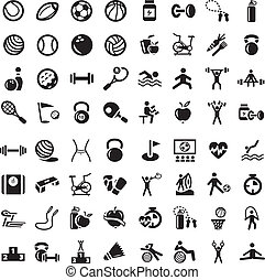 sports, fitnes, ensemble, icônes