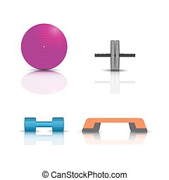 Sports fitness icons, vector illustration.