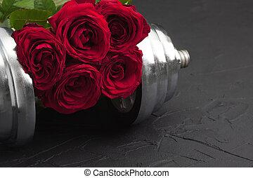 sports, fond, à, haltère, et, roses.