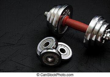 sports, fond, à, lourd, haltère, pour, séance entraînement