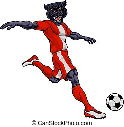 sports, football, panthère, joueur, football, mascotte