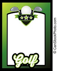 sports, gabarit, affiche, ou, prospectus, fond, golf