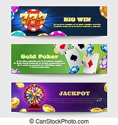 Sports gambling banners with lottery machine, fortune wheel golden coins money vector set