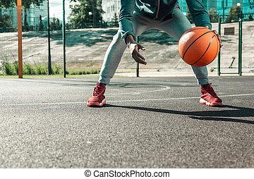 Close up of an orange basketball ball