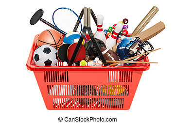 Sports game equipment in shopping basket. 3D rendering