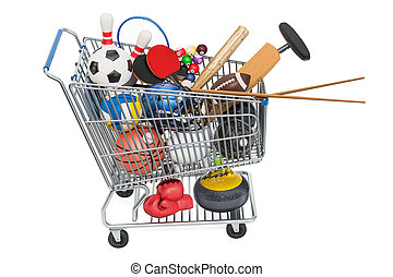 Sports game equipment in shopping cart. 3D rendering