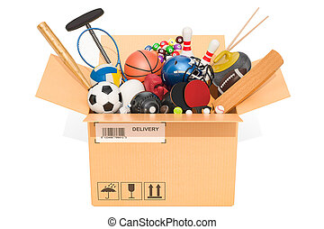 Sports game equipment inside cardboard box, delivery concept. 3D rendering