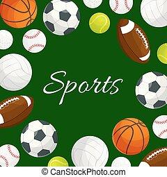 Sports gaming balls vector poster