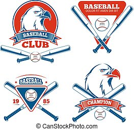 sports, garçons, vecteur, base-ball, retro, insignes, vêtements de sport