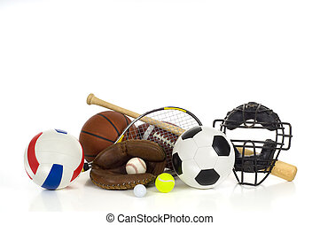 Sports gear or equipment on white background including baseball items, a bat, glove and ball and a catcher's mask, an american football, a soccer ball, a volleyball, a tennis racket and ball, a golf bll