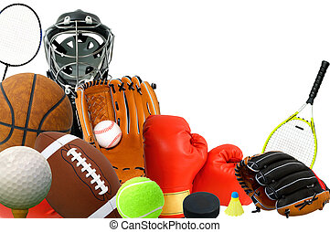 This is an arrangement of several sports items.