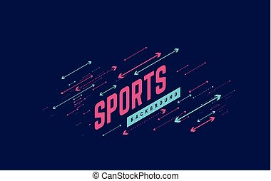 Sports geometric background vector illustration with arrows. Can be use for sport news, poster, presentation.