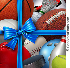 Sports Gift - Sports gift concept as a group of sport...