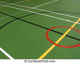 Sports hall floor markings - Indoor sports hall showing...