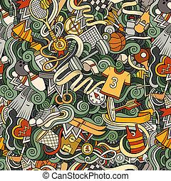 Sports hand drawn doodles seamless pattern